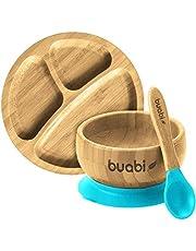 BUABI Vajilla de Bambú natural, set 3 piezas: Bowl Plato y Cuchara. Con ventosa antideslizante en la base. Bambú y silicona grado alimentario, Ecológico sin BPA