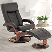 Mac Motion Oslo Collection Hamar Recliner and Ottoman in Black Top Grain Leather