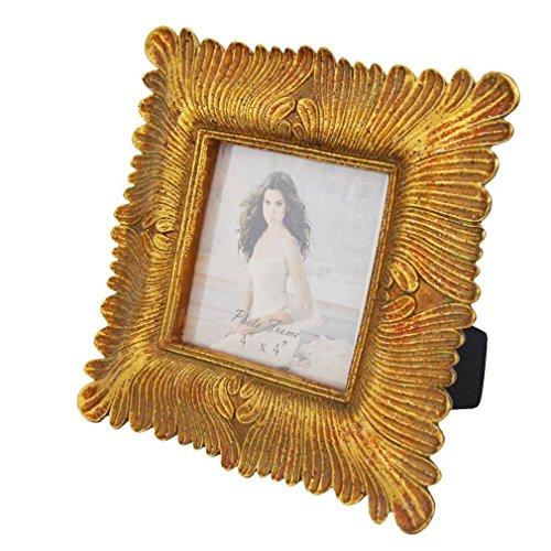 Gift Garden 4x4 Square Gold Picture Frame Vintage Frames 4 by 4 - Frame Gold Square