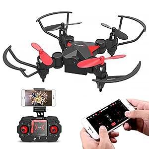 Metakoo Drone con Cámara, M2 Plegable Drone Quadcopter con Cámara HD Live Video WiFi FPV para Niños y Principiantes, 3D Flips, One Key Return, Modo sin Cabeza, Vuelo de Trayectoria