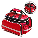 Bicycle Pannier, Bodecin Outdoor Waterproof Multi- function Portable Bicycle Pack Bike Pannier Carrying Luggage Package Rack Panniers Rear Seat Trunk Bag with Rainproof Cover(Red)