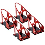 Globe House Products GHP 4-Pieces Black & Red 17-21 Wheel Sizes Steel Removable Motorcycle Wheel Chock