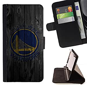For HTC One M9 Golden Warriors Sports Team Style PU Leather Case Wallet Flip Stand Flap Closure Cover