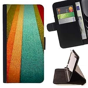 For Samsung Galaxy S4 IV I9500 Case , Textil textura naranja pastel Tonos Líneas- la tarjeta de Crédito Slots PU Funda de cuero Monedero caso cubierta de piel