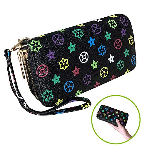 (Wrist Wallets for Womens Luxury Zip Mini Coin Purse with clasp Pentagram PU Vegan Leather (wallet Black&Colorful flower))
