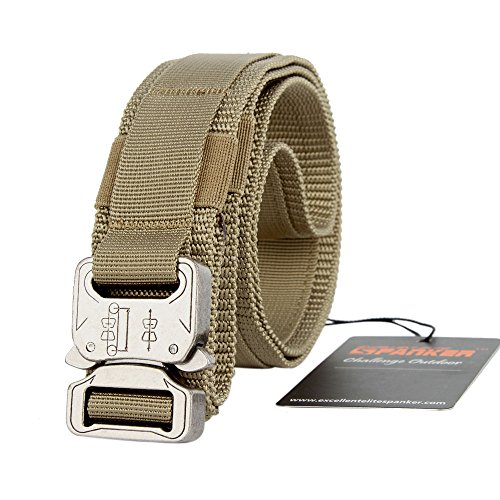 EXCELLENT ELITE SPANKER Tactical Belt Heavy Duty Adjustable Waist Belt with Quick Release Metal Buckle Waistband Nylon(Tan-L)