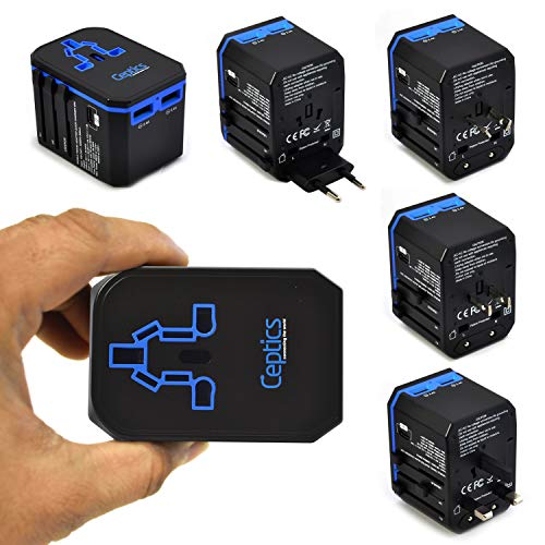 Ceptics World Travel USB Type C QC 3.0 18W PD Power Plug Adapter - 3 USB Ports Wall Charger Type I C G A Outlets 110V 220V A/C - 5V D/C - EU Euro US UK - European Adaptor Kit - All in One (Universal Wall Adapter Power)