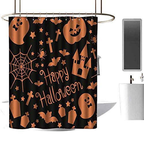 homecoco Kids Bathroom Shower Curtain Halloween Silhouette Seamless Pattern boy Shower Curtain W72 x L84