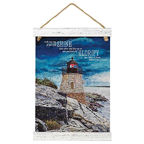 Dicksons Let Your Light So Shine Lighthouse Seaside Breeze 12 x 20.5 Wood Wall Sign Plaque ()
