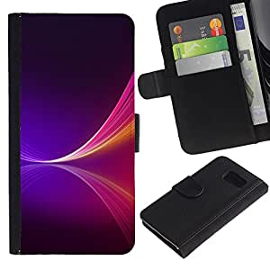 YiPhone /// Tirón de la caja Cartera de cuero con ranuras para tarjetas - NEON PURPLE SPLASH - Samsung Galaxy S6