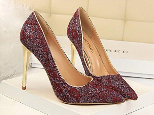Dames Femmes Chaussures Cadeau Talon LUCKY Haut Sandales Mariage A Stiletto Classique Blink Hauts Multicolore D'anniversaire Talons De EU37 Heel Fête Fille CLOVER Femmes Red 7SqZa