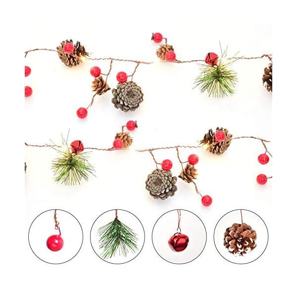 YQing 204cm Bacca Natale Ghirlanda, LED Ghirlanda Natalizia Bacca Rossa Natale Ghirlanda di Pino per Le Decorazioni Natalizie di Capodanno per Le Vacanze di Natale 5 spesavip
