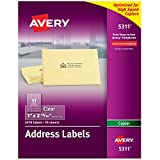 """Avery Matte Frosted Clear Address Labels for Copiers, 1"""" x 2-13/16"""", 2,310 Labels (5311)"""