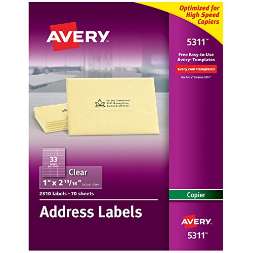Avery Matte Frosted Clear Address Labels for Copiers, 1