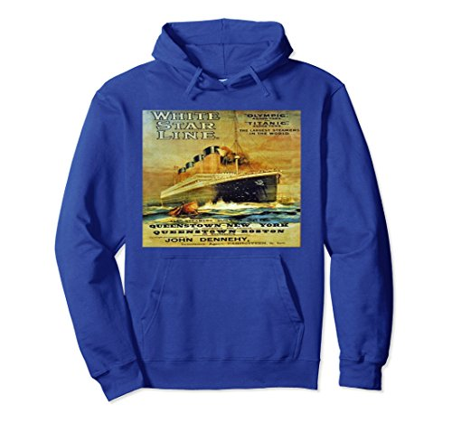 Unisex Titanic White Star Line Vintage Poster Hoodie Sweatshirt Medium Royal Blue