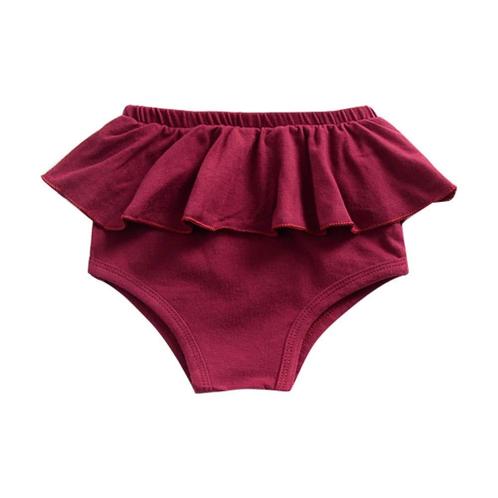 Soly Teche Baby Girls Elastic Waist Ruffles Skirt Hem Shorts Panties