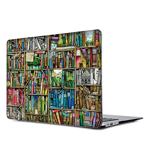 Onkuey Pattern Rubberized Plastic Hard Case Shell Cover for Old MacBook Pro 13 Inch (A1278, with CD-ROM), Release Early 2012-2008, Bookshelf