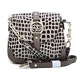 Dasein Fashion Women's Petite Croco Embossed Baguette Shoulder Bag Handbag Clutch Purse w/ Chained-In Strap & Bonus Strap -Coffee