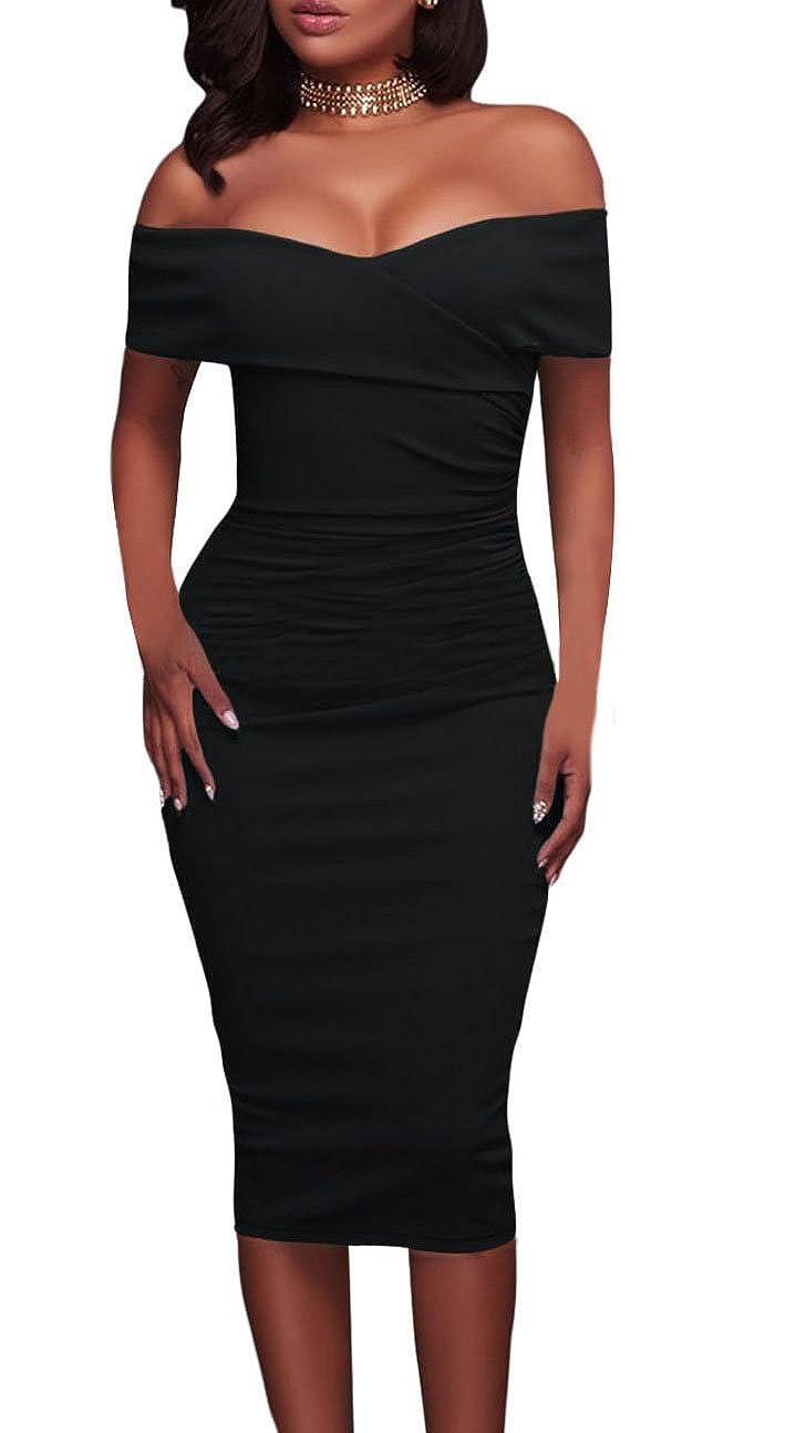 05de55631bc9 made2envy Off Shoulder Bodycon Midi Dress (L, Black) LC61507LB Set with  Lace Panties at Amazon Women's Clothing store: