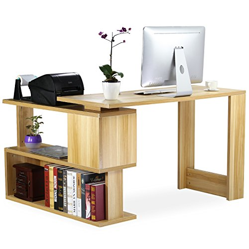 Tribesigns Modern L Shaped Desk Rotating Corner Computer Desk Study Writing Table Workstation