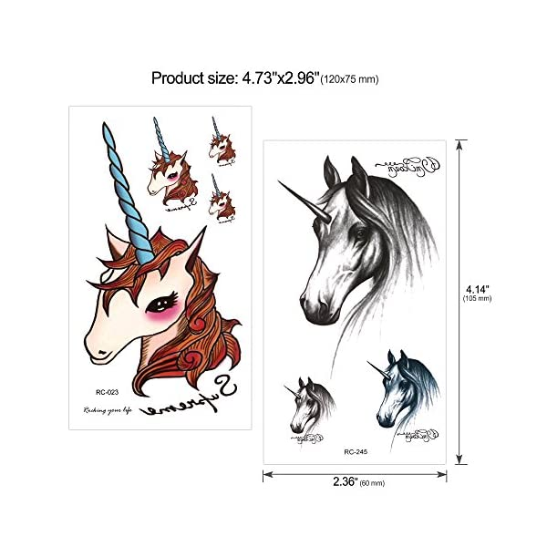 Konsait Unicorn Temporary Tattoos for Girls (130Assorted Glitter Tattoo), Rainbow Unicorn Party Supplies, Great Kids Birthday Party Bag Filler, Girls Party Favors Goody Bag Stuffers Carnival Rewards 4