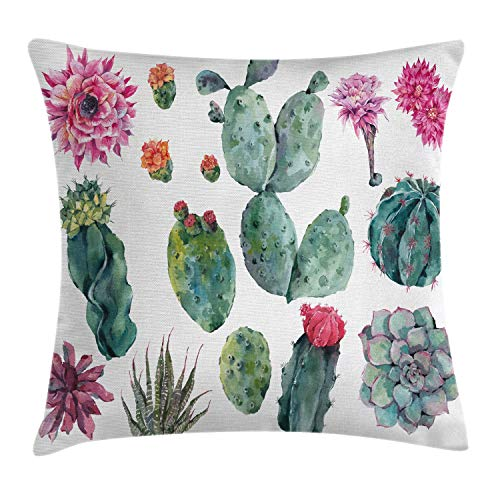 """Ambesonne Nature Throw Pillow Cushion Cover, Desert Botanical Herbal Cartoon Style Cactus Plant Flower with Spikes Print, Decorative Square Accent Pillow Case, 16"""" X 16"""", Green Pink"""