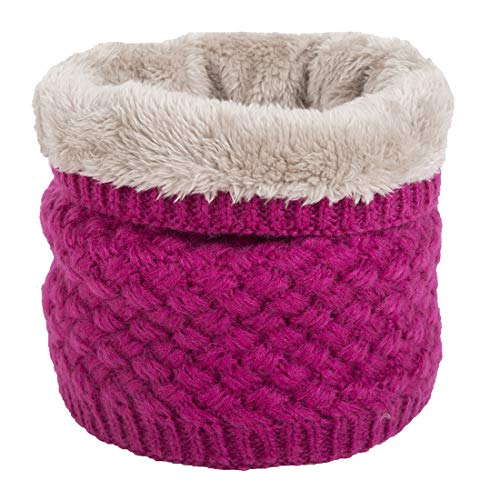 Leories Winter Neck Warmer Fleece Lined Infinity Scarf Thicken Windproof and Dust Skiing Scarf Face Mask Hot Pink