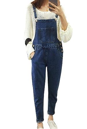 151bba06ad381 Guiran Femme Jeans Rétro Boyfriend Taille Haute Loose Denim Pantalons  Salopette en Jeans