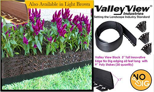 Valley View NDETC-60 Black 3'' Tall Innovative Dig 60 feet Long with 9'' Poly Stakes (30 Quantity) Lawn Edging, Garden Border (For Edging Sale Garden Metal)