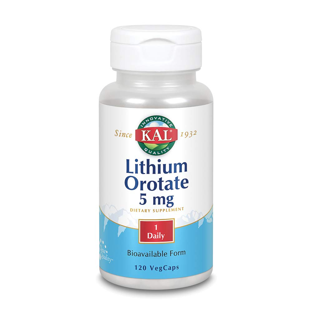 KAL Lithium Orotate 5 milligrams | Low Serving Of Chelated Lithium Orotate For Bioavailability and Mood Support | In Organic Rice Bran Extract Base | 120 VegCaps