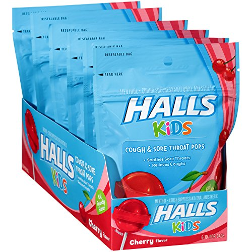 Cherry Cough Medicine - Halls Kids Cherry Cough and Sore Throat Pops - for Children - 60 Pops (6 bags of 10 Pops)