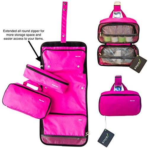 Travel Toiletry Bag Filled with Hairbrush, 2 Toothbrushes, Exfoliating Bath Sponge, Shower cap, 4 travel size bottles, Nail care kit. Complete Personal Care Kit (PINK)
