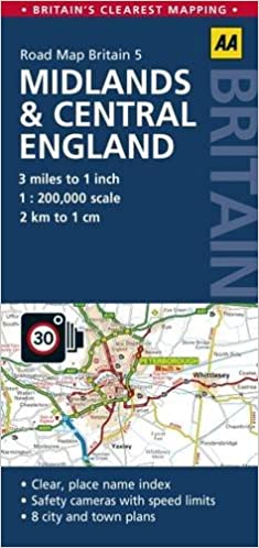 gb5 midlands central england road map 1200k aa road map britain aa publishing 9780749577148 amazoncom books