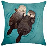featured product New Arrival Adorable Animal Cute Otter Couple Lying On The River Cotton Linen Throw Pillow Case Cushion Cover NEW Home Office Decorative Square 18X18 Inches