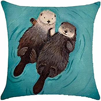 Adorable Animal Cute Otter Couple Lying On The River Cotton Linen Throw Pillow Case Cushion Cover New Home Office Decorative Square 18X18 Inches