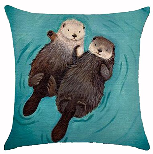 New Arrival Adorable Animal Cute Otter Couple Lying On The River Cotton Linen Throw Pillow Case Cushion Cover NEW Home Office Decorative Square 18X18 Inches