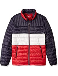 Mens Big and Tall Ultra Loft Packable Puffer Jacket, Midnight/White/red,