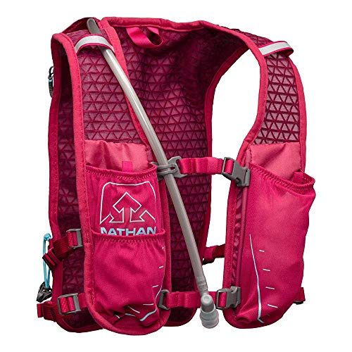 Nathan TrailMix Running Vest/Hydration Pack. 7L (7 Liters) for Men and Women | 2L Bladder Included (2 liters). Zipper, Phone Holder, Water (Sangria/Magenta Purple/Sky Blue, One Size Fits Most) by Nathan (Image #2)