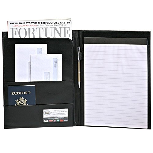 Leather Deluxe Writing Padfolio (Deluxe Black Writers Padfolio with Inside pocket)