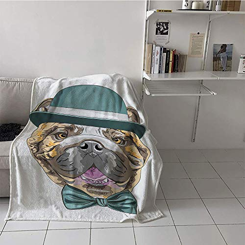 - Khaki home Children's Blanket Travel Plush Throw Blanket (60 by 80 Inch,English Bulldog,Dog in a Hat and Bow Tie Animal Design with Formal Attire Pure Breed,Teal Brown Pink