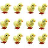 Wind Up Toy, Easter Toy Wind-Up Jumping Chicken Plush Chicks Toys Novelty Toys for Party Favors , Random Color, 12 PCS
