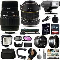 Opteka 6.5mm + 70-300mm Lens with 64GB + i-TTL Flash for Nikon D5500, D5300, D5200, D5100, D3400, D3300, D3200 and D3100 Digital SLR Cameras