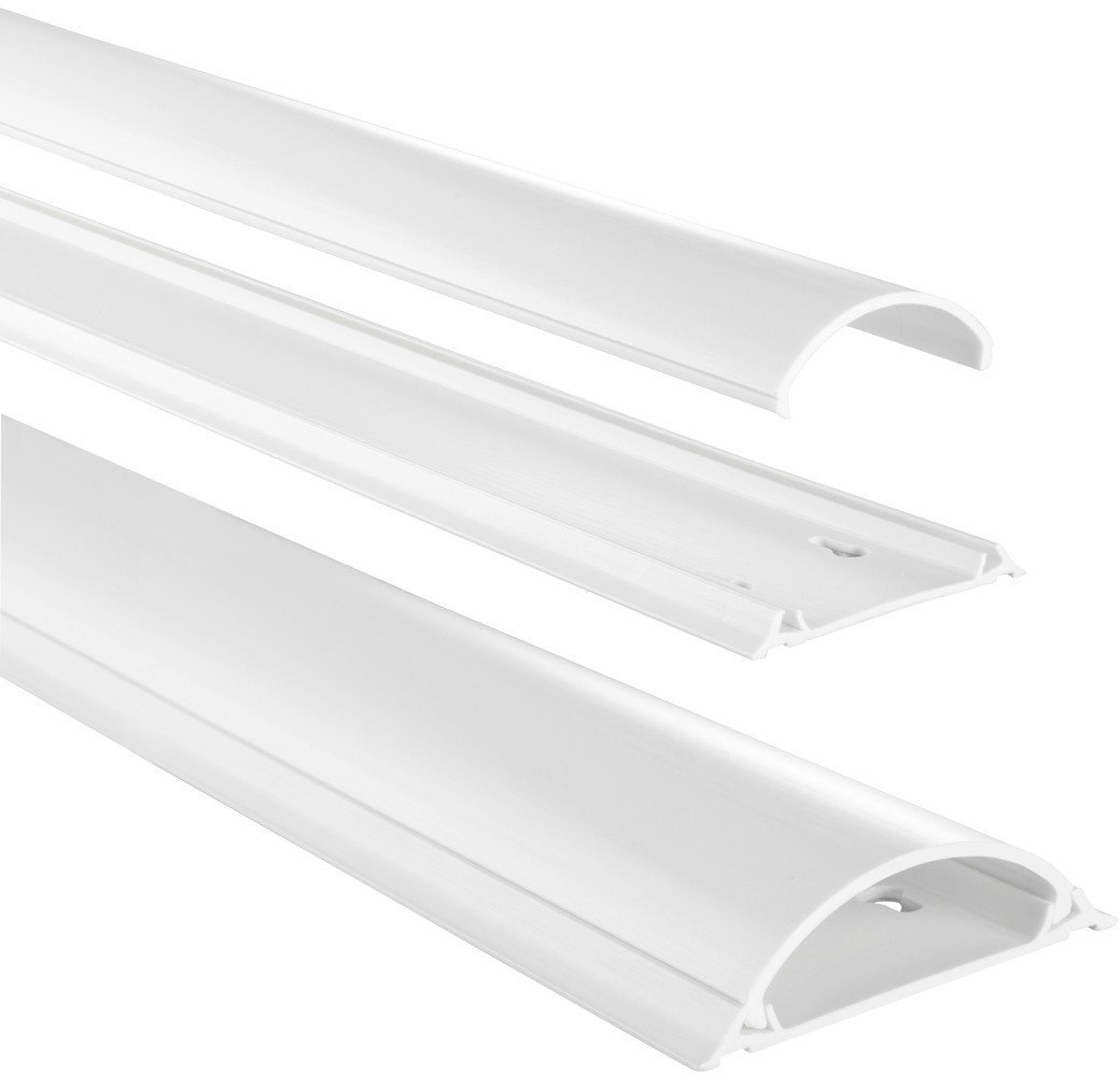 Hama Conduit de Câbles (semi-circulaire, auto-adhésif, 100 x 7 x 2,1 cm, jusqu'à 8 Câbles), Blanc
