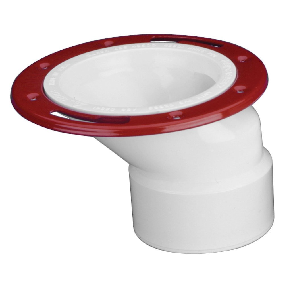 Oatey 43501 PVC Offset Flange with Metal Ring, 3-Inch or 4-Inch