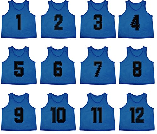 Oso Athletics Set of 12 Premium Polyester Mesh Numbered Jerseys Scrimmage Vests Pinnies w/ Carrying Bag for Children, Youth, & Adult Team Sports Soccer, Basketball, Football (Blue (#1-12), Child) (Team Soccer Flag)