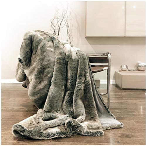 (Eikei Luxury Faux Fur Throw Blanket Super Soft Oversized Thick Warm Afghan Reversible to Plush Velvet in Tan Grey Wolf, Cream Mink or Blush Chinchilla, Machine Washable 60 by 70 Inch (Ombre))