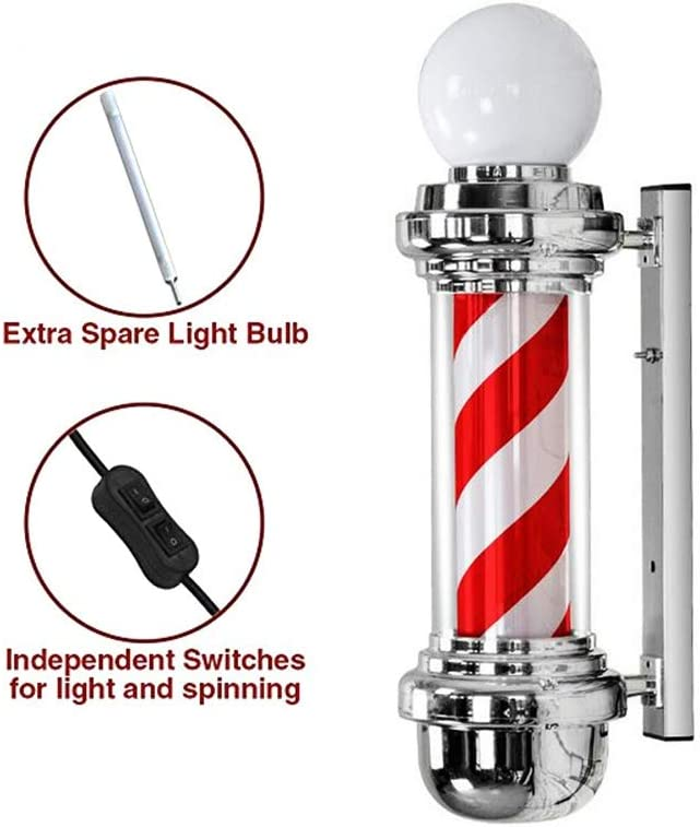 kodnn LED 68cm Poste de Barbero Luminoso,Giratorio Esclarecedor ...