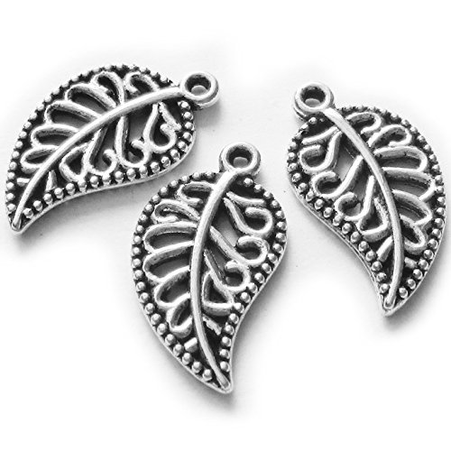 Heather's cf 80 Pieces Silver Tone Hollow Leaf Beads DIY Charms Pendants 18X10mm