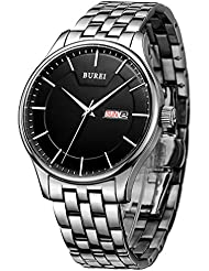 BUREI Men Simple Quartz Watch Black Analog Dial with Day Date Window Stainless Steel Case and Band Mineral Lens