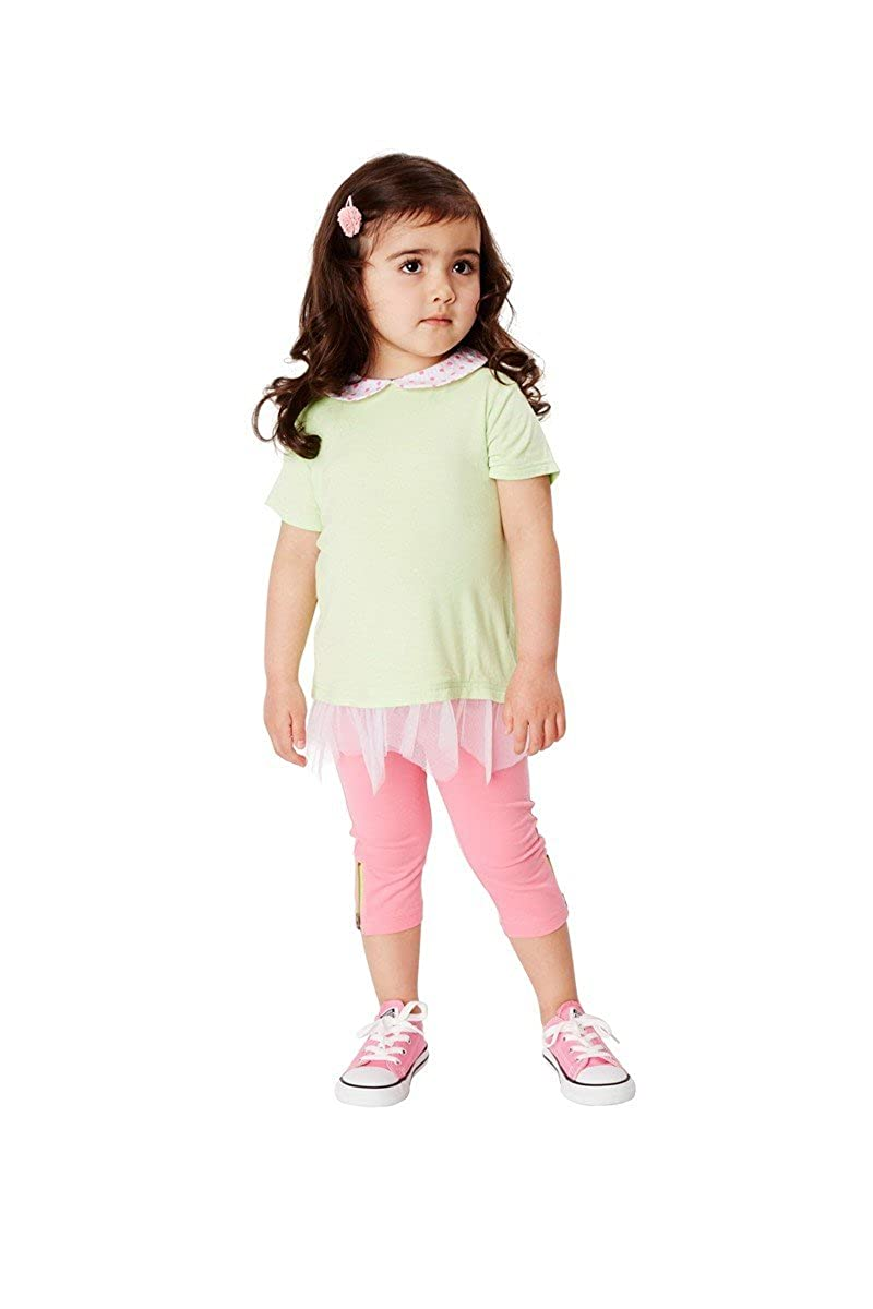 Andy /& Evan New Little Girls Light Green Tunic with Contrasting Trim For Kids Short Sleeve Dress